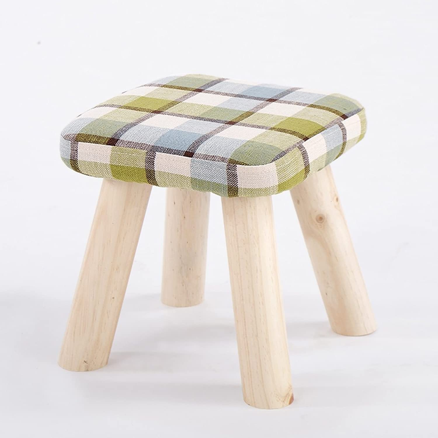 Small Stool Living Room Tea Table Cloth Art Chair Porch shoes Change Stool Solid Wooden Frame (color   Green)
