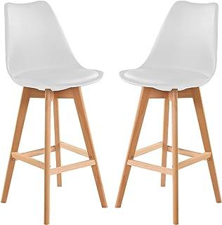 Hapeisy 2 sillas modernas de mediados de siglo, sillas de comedor con patas de madera natural para cocina, comedor, dormitorio, sala de estar (blanco, 27.5 pulgadas de altura)