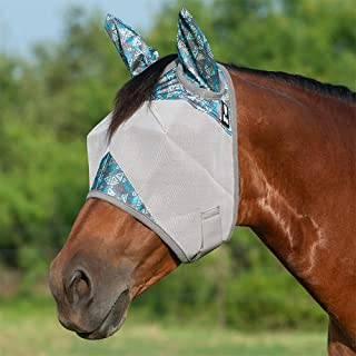 Cashel Crusader Designer Horse Fly Mask with Ears, Teal Tribal, Yearling