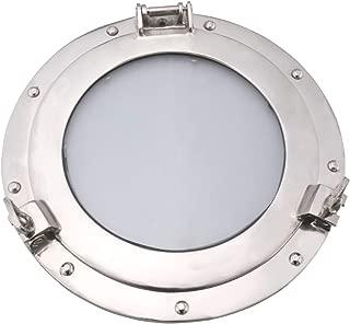 Benjara Glass Inserted Aluminum Porthole Wall Decor with Hinge Joint, Gray, 11