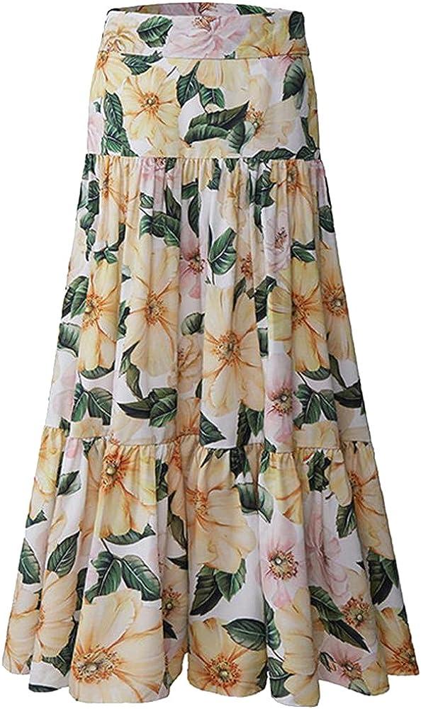 Summer Runway Elegant Party Skirt Women's High Waist Flower Print Midi Vestidos