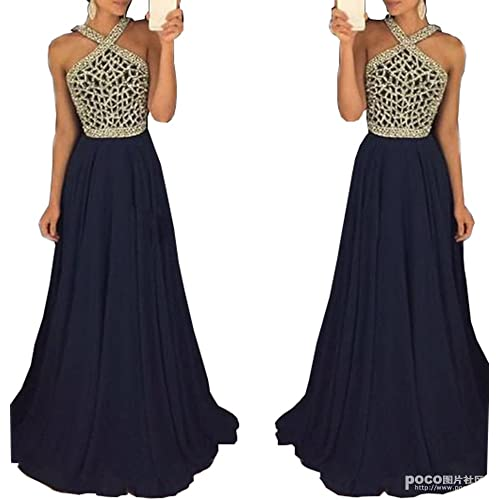 bc74156cc31 Fanciest Women s Crystal Beaded Prom Dresses 2019 Long Evening Gowns Formal