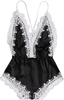 Teddy Underwear,SaleFashion Sissy Women Sexy Lingerie Girl V-Neck Lace Splice Bodysuit Sleepwear