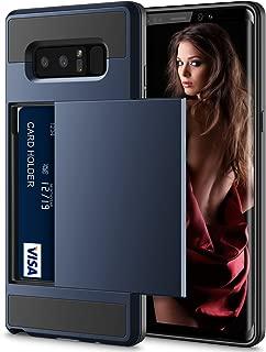 Vofolen Case for Galaxy Note 8 Case Wallet Card Holder ID Slot Sliding Cover Hidden Pocket Dual Layer Bumper Protective Hard Shell Tough Hybrid PC Rubber Armor Case for Samsung Galaxy Note 8 Navy