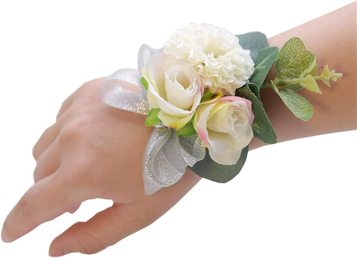 Silver Corsage prom Homecoming Ivory White Roses shinn bracelet Crystals Corsage and Boutonniere set Emerald corsage Wedding