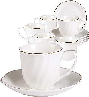 GuangYangTasses à Café et Soucoupes en Porcelaine Anglaise - 200ml/7oz Blanche Service à Café Fine et Résistant Bord d'or ...