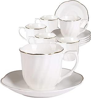 Juegos de Tazas Café Ceramica 7OZ - 12 Piezas Tazas de Té con Rayas Blancas y Bordes Dorados Set de Tazas Ideales para Cappuccino, Latte, Mocha