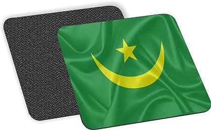 Rikki Knight bandera de Mauritania diseño-suaves cuadrados posavasos cerveza (juego de 2), Multicolor
