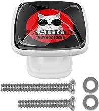 Kat met glazen 4 Stks 30mm kast deurknoppen voor kast kaptafel witte lade trekt handvat vierkant met schroeven