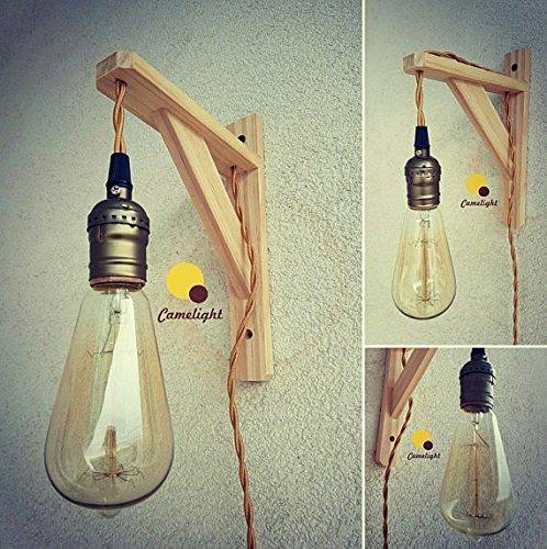 LAMPADA DA PARETE stile scandinavo,nordico,legno,portalampada bronzo,lampadina edison a filamento vintage,cavo in tessuto...