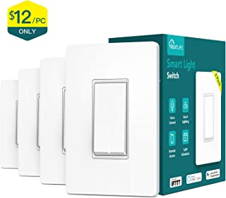 Treatlife Smart Light Switch, Neutral Wire Needed, 2.4Ghz Wi-Fi Light Switch, Works with Alexa, Google Assistant and IFTTT, Schedule, Remote Control, Single Pole, ETL Listed (4 PACK)