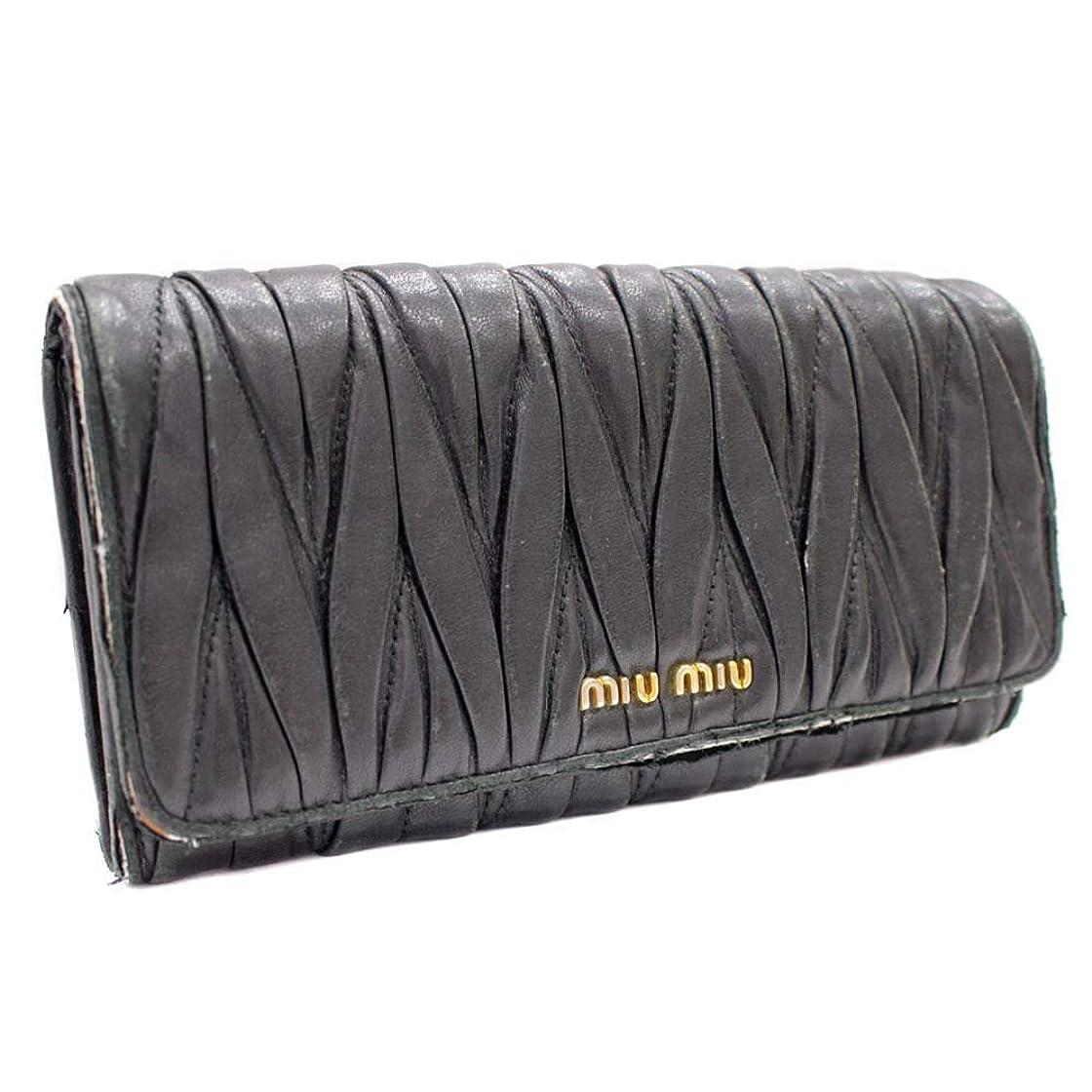寄付するリム行うミュウミュウ MIUMIU マテラッセ 二つ折り 長財布 ブラック レディース レザー [中古]