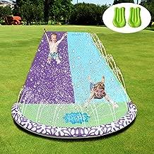 Babigo 15.8Ft Water Slides Slip with 2 Inflatables Crash Pad for Kids, Double Race Slip Slide Play Center with Splash Sprinkler for Children Summer Backyard Swimming Pool Games Outdoor Water Toys