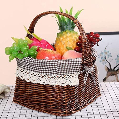 LMCLJJ Weidenkorb Geschenkkörbe Leere ovale Weide gewebt Picknickkorb billig Ostern Candy Basket Lagerung Weinkorb mit Griff Ei sammeln Hochzeitskorb (Color : Drak Brown)