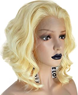 Anogol Hair Cap+Yellow Blonde Lace Front Wig Short Bob Layered Wigs For Women Half Hand Tied Synthetic Hair