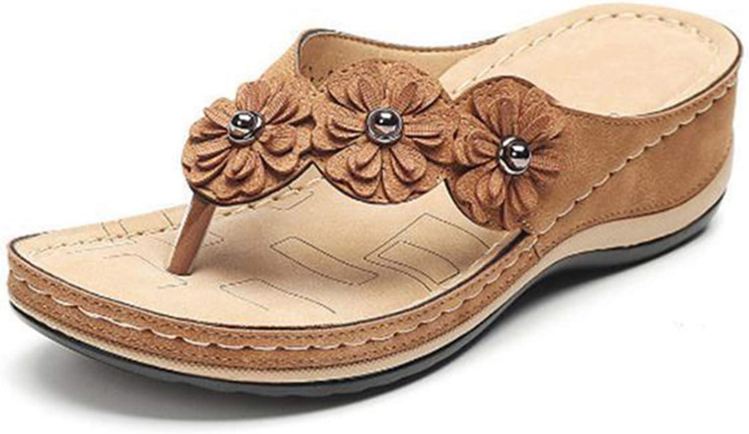Lishiny Flower Clip Toe Beach Sandals with Rubber Sole, Women's Flip Flops Outdoor Slippers Bohemia Platform Dress Shoes