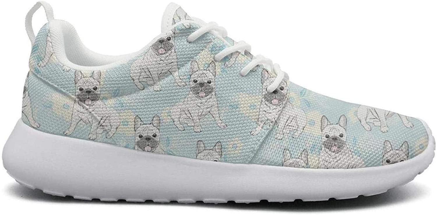 Cute cartoon french bulldog bule stylish Print women's sports Running shoes Casual Lightweight Athletic Sneakers