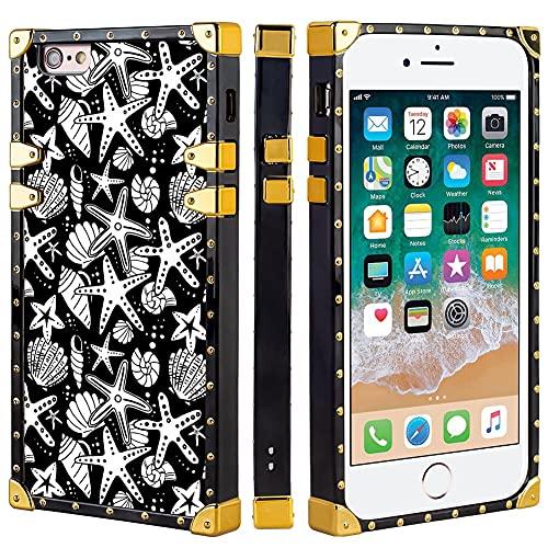 Naikuyi Funda para iPhone 6 Plus (6+) / 6S Plus (6S +) - Carcasa cuadrada con conchas marinas y estrellas de mar, funda de TPU de lujo con cuatro esquinas, protección de búfer fuerte pero no pesada