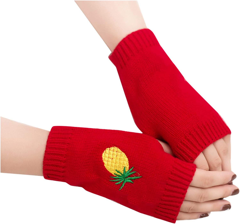 Women Winter Warm Knit Fingerless Gloves Pineapple Embroidered Hand Crochet Thumbhole Arm Warmers Mittens