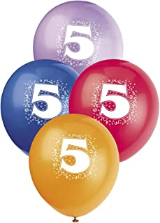 """Unique Party Number 5 Latex Balloons, Assorted Colours, 30cm/12"""", Pack of 6"""
