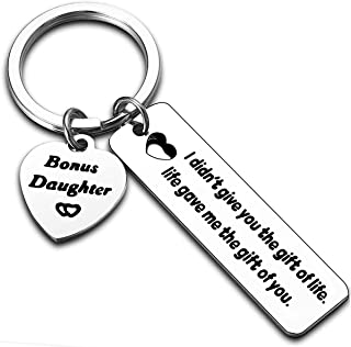 Bonus Daughter Gifts Stepdaughter keychain Daughter in Law Gifts Keyring Daugher Jewelry Daughter Gifts from Mom