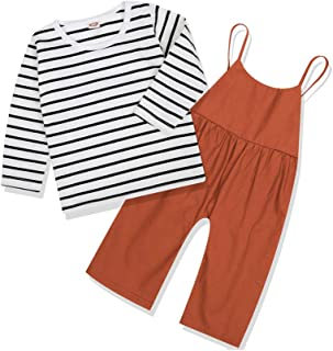 CARETOO Toddler Baby Girls Stripe Clothes Set, Long Sleeve Top + Strap Overalls Loose Jumpsuit Fall Outfits Boys Pants Sets