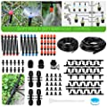 226FT Greenhouse Micro Drip Irrigation Kit Automatic Patio Misting Plant Watering System with 1/4 inch and 1/2 inch Blank Distribution Tubing Hose Adjustable Nozzle Emitters Sprinkler Barbed Fittings