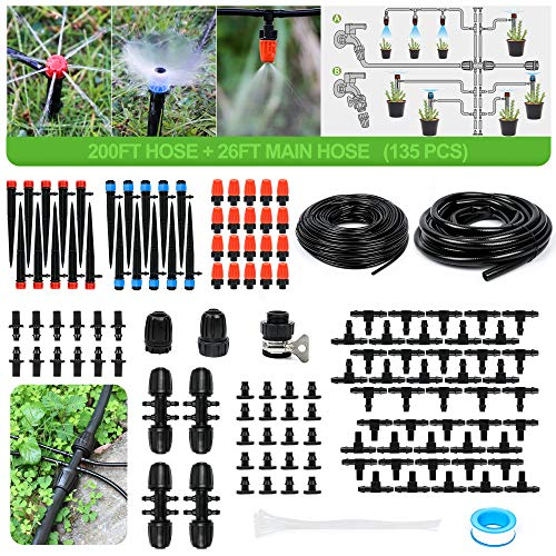 XLX Garden Drip Irrigation Kit Adjustable Misting Drippers Atomizing Connect with Tee Connector/ and 131FT//40M Black Tube DIY Saving Water Automatic Cooling Irrigation Equipment Emitter Drip System