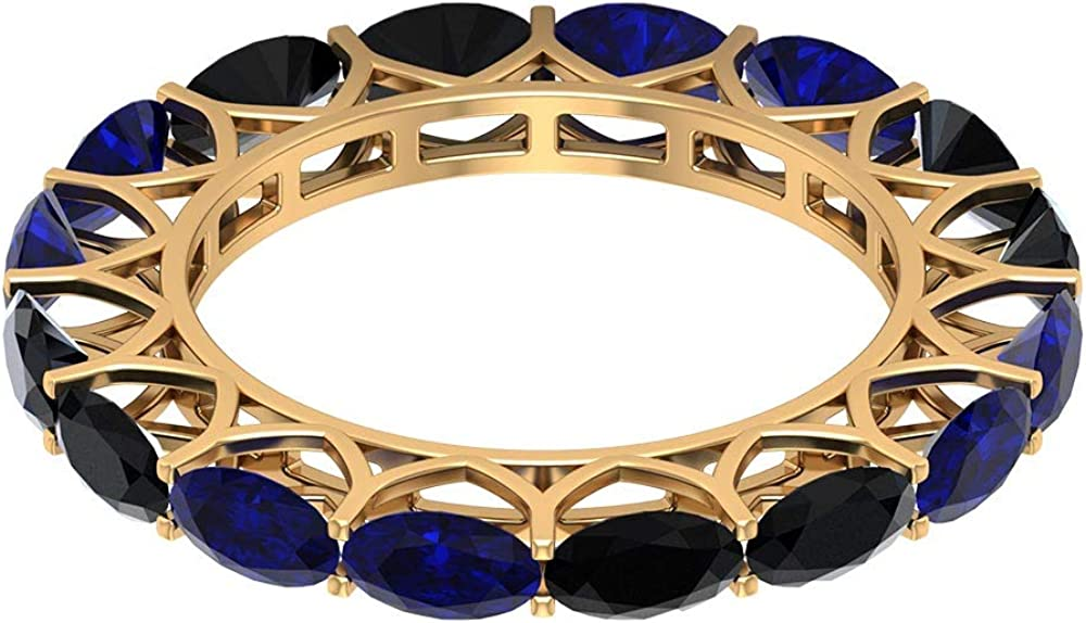 Eternity Wedding Band Selling 2.8Ct5X3mm Ranking TOP9 Alternate Ring Blue Sapphire