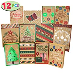 Christmas Foil Kraft Gift Boxes Includes 12 Assorted Sizes Xmas Gift Boxes in 12 Different Unique Designs. High Quality: Permanent Ink; Thick and Sturdy. Quick Assembled. Make Wrapping Gifts a Snap. Easy and Quick Last-Minute Gift Wrap Decorating. Su...