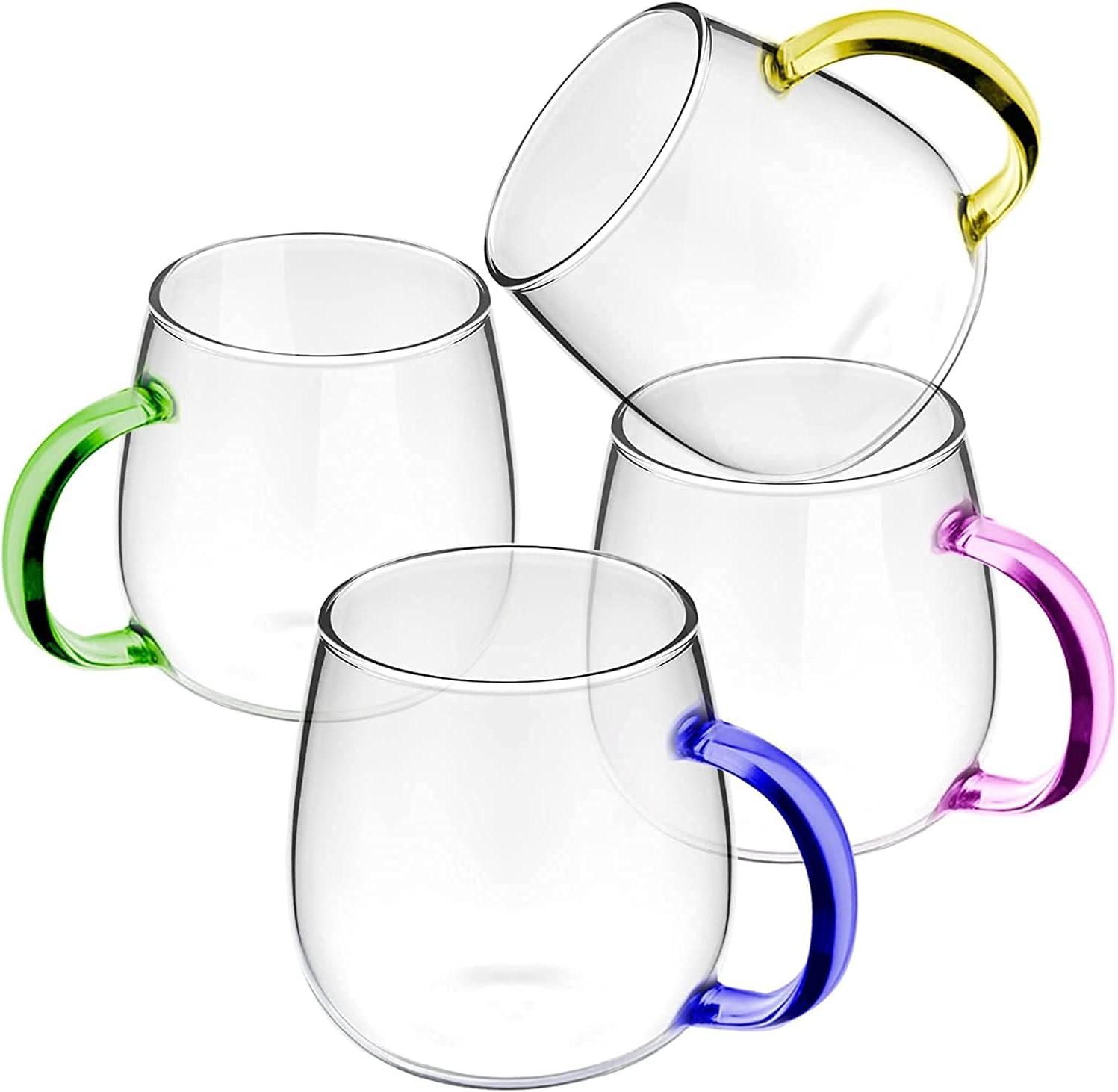 FYRLA Clear Glass Coffee Mugs Set Easy-to-use oz w Large of 4 13 Phoenix Mall