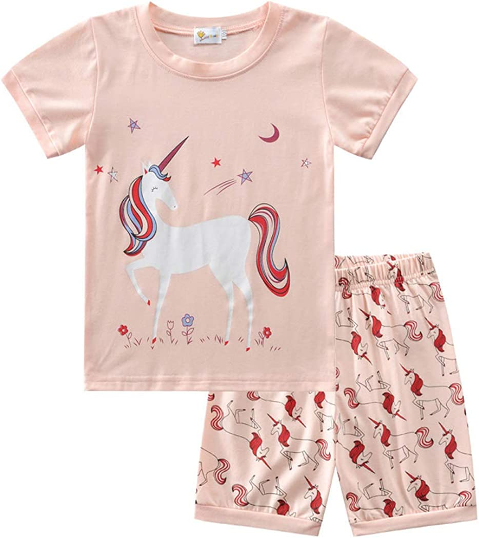 100% Cotton Summer Sleepwear Two Piece Unicorn Clothing Set (Pink 2 6-7Y)