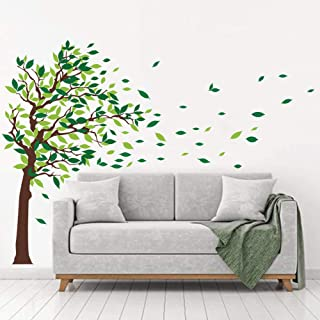 decalmile Green Tree Wall Stickers Flying Leaves Wall Decals for Home Living Room Bedroom Sofa Backdrop TV Wall Decoration (L, Green, Right)