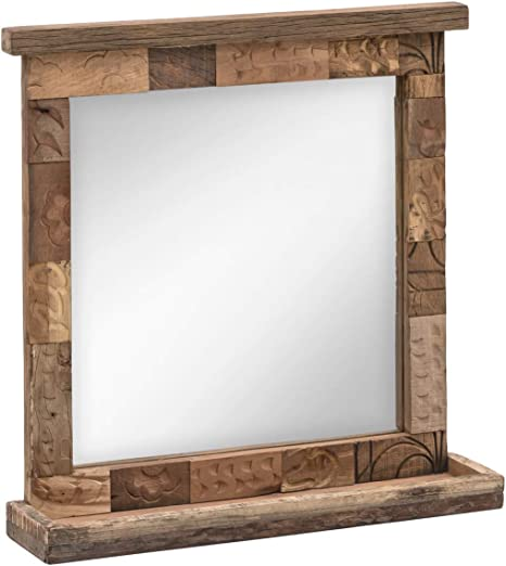 Woodkings Patna Bathroom Mirror 70 X 70 Cm Reclaimed Wood With Shelf Solid Real Wood Frame Made From Old Brick Shapes Bathroom Mirror Wall Mirror Bathroom Furniture Solid Wood Unique Amazon De