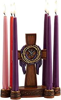 Easter Cross with Robe Crown of Thorns and Crucifixion Nails Lenten Candleholder, 8 Inch
