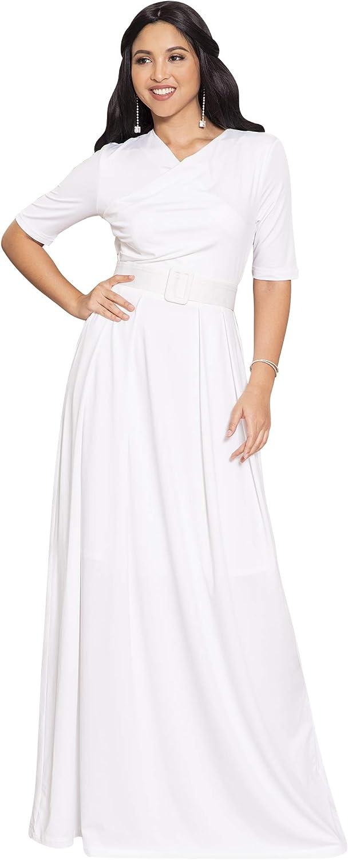 KOH KOH Womens Half Sleeve Elegant Evening Long Maxi Dress with Belt