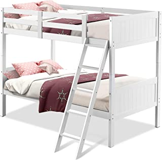 Costzon Wooden Twin Over Twin Bunk Beds Convertible 2 Individual Twin Beds for Kids Children, Solid Hardwood Bunk Bed with Ladder and Safety Rail (White)