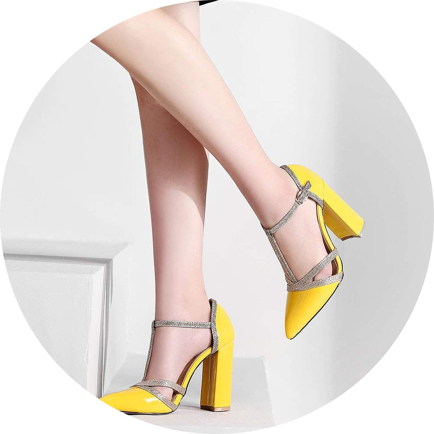 Get-in Patent Leather Women Pumps Spring shoes T-Strap Pointed Wedding Pumps Sexy Cut Outs Thick Heel Dress Party shoes