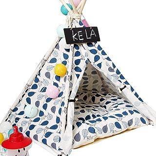 ZJZ Hund kattbädd husdjurssäng husdjur tipi tält för hundar kattbädd blå löv mönster sött hus husdjur