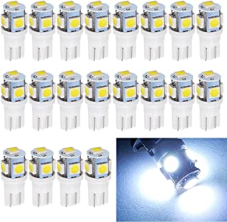 EverBright 20-Pack T10 194 Led Bulb, White 5050 5 SMD 2825 W5W 912 168 LED Bulb Replacement for Car Interior Lights Wedge Dome Trunk Dashboard Bulb License Plate Light Lamp DC 12V