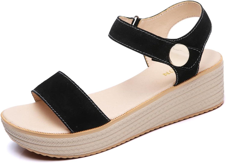 Sandals Women Summer Suede Leather Strap Sandals shoes Female Sandals Espadrilles wedge Women Low Heels Sandals