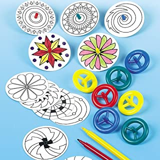 Baker Ross Make Your Own Spinning Top Kit — Creative Art and Craft Supplies for Kids to Make, Personalise and Decorate (Pack of 12)