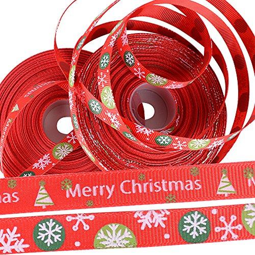 BUONDAC 44m 2 Rollos Cintas Navidad Tela Manualidades Lazos Decoración Embalaje Regalo Cajas Flores Arbol Navidad Boda Fiestas Cumpleaños 22 Metro/Cada Rollo, Ancho de 1cm