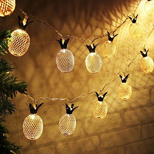 Lichterkette,FeiliandaJJ 1.5M 10Led Ananas Kupferdraht Licht Lichterkette LED Licht Hochzeit Party Weihnachten Halloween Innen/Außen Haus Deko String Lights 2XAA Batterien (Gelb)