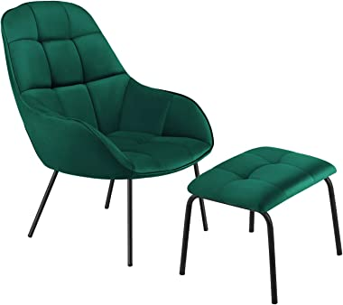 VECELO Lounge Sofa Chair&Ottoman with Premium Cotton Pad and Stainless Steel Frame, Green