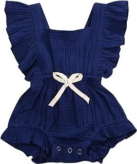 GSHOOTS Baby Girls Ruffle Romper Newborn Sleeveless Onesies Infant Flutter Sleeve Bodysuit Linen Jumpsuit
