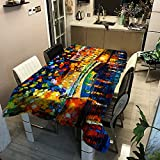 Nordic Street View Night Scene Mantel De Pintura Al Óleo Poliéster Impermeable Mantel A Prueba De Aceite Y Resistente A Las Manchas Hotel En Casa Sala De Estar Mesa De Comedor Café