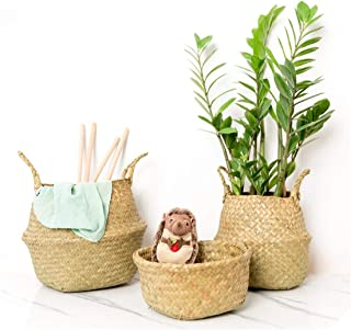 2Pcs Foldable Rattan Belly Storage Basket Toy Laundry Basket Dirty Clothes Storage Container Home Plants Flower Decor,2 x S