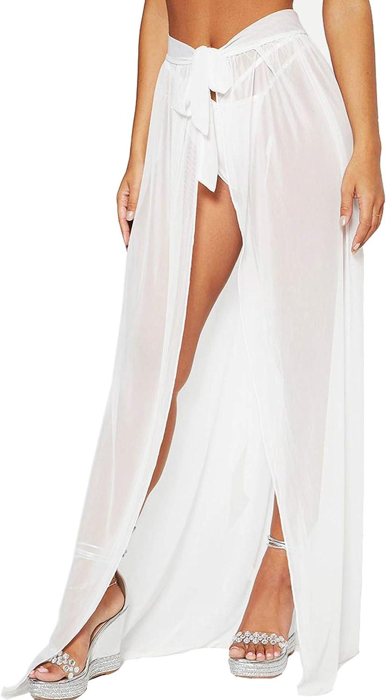 Cover Ups for Swimwear Women Tie Side Boho Split Long Beach Skirt (XS-XXXL)