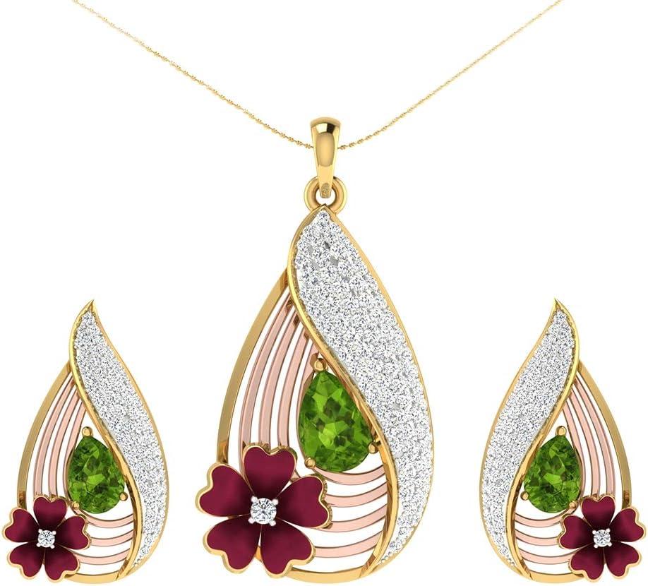 LFOEwpp7 Fashion Jewelry Set, Faux Emerald Flower Water Drop Pendant Necklace Stud Earrings, Women Party Wedding Bridal Jewelery, Birthday Christmas Valentine's Day Decor Gift